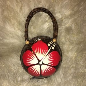 Vintage Philippines Coconut Shell Novelty Purse